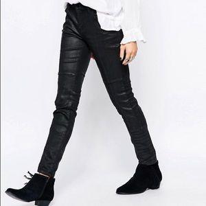 Free People Jillian black coated skinny moto jeans